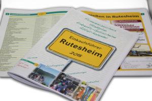 """Rutesheim Einkaufsführer 2018 - Innenansicht Firmenverzeichnis und Themenseite """"Genießen in Rutesheim"""""""