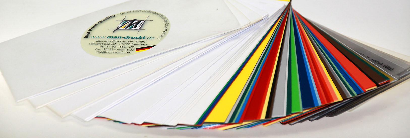 Plastikkarten drucken lassen pvc pet pc weiss transparent farbig in Rutesheim Leonberg Stuttgart