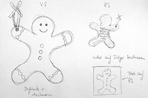 Making of Weihnachtskarte: Grafische Handskizze bringt die Idee der Weihnachtskarte in Form eines Lebkuchenmanns zu Papier