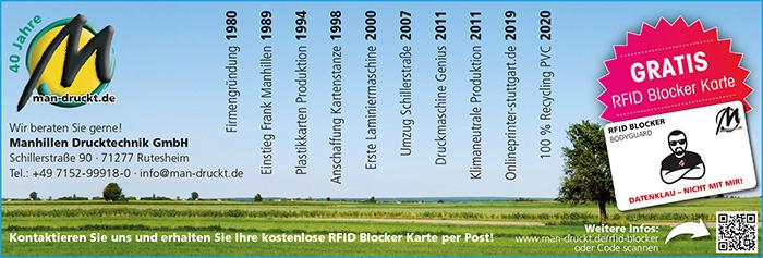 Firmenjubiläum Manhillen: Gratis RFID Blocker Karte bei Absenden des Kontaktformulars
