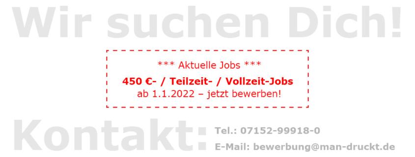 Aktuelle Jobangebote: Mehrere 450 €- / Teilzeit- / Vollzeit-Jobs für unsere Spezialdruckerei für Plastikkarten-Produktion, UV-Offsetdruck, Digitaldruck, Lentikulardruck in Rutesheim Stuttgart.